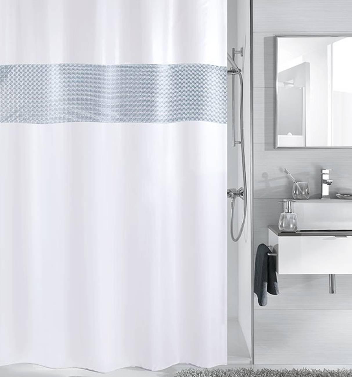 Duschvorhang Twin 100 % Polyester Schneeweiss 180x200 cm
