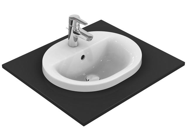 IS Einbauwaschtisch Connect oval 1Hl. m.Ül. 480x400x175mm Weiß