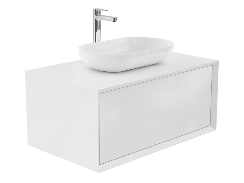 Treos Badmöbel mit Aufsatzwaschtisch, mit Hahnloch, weiss-lack 902x547x508