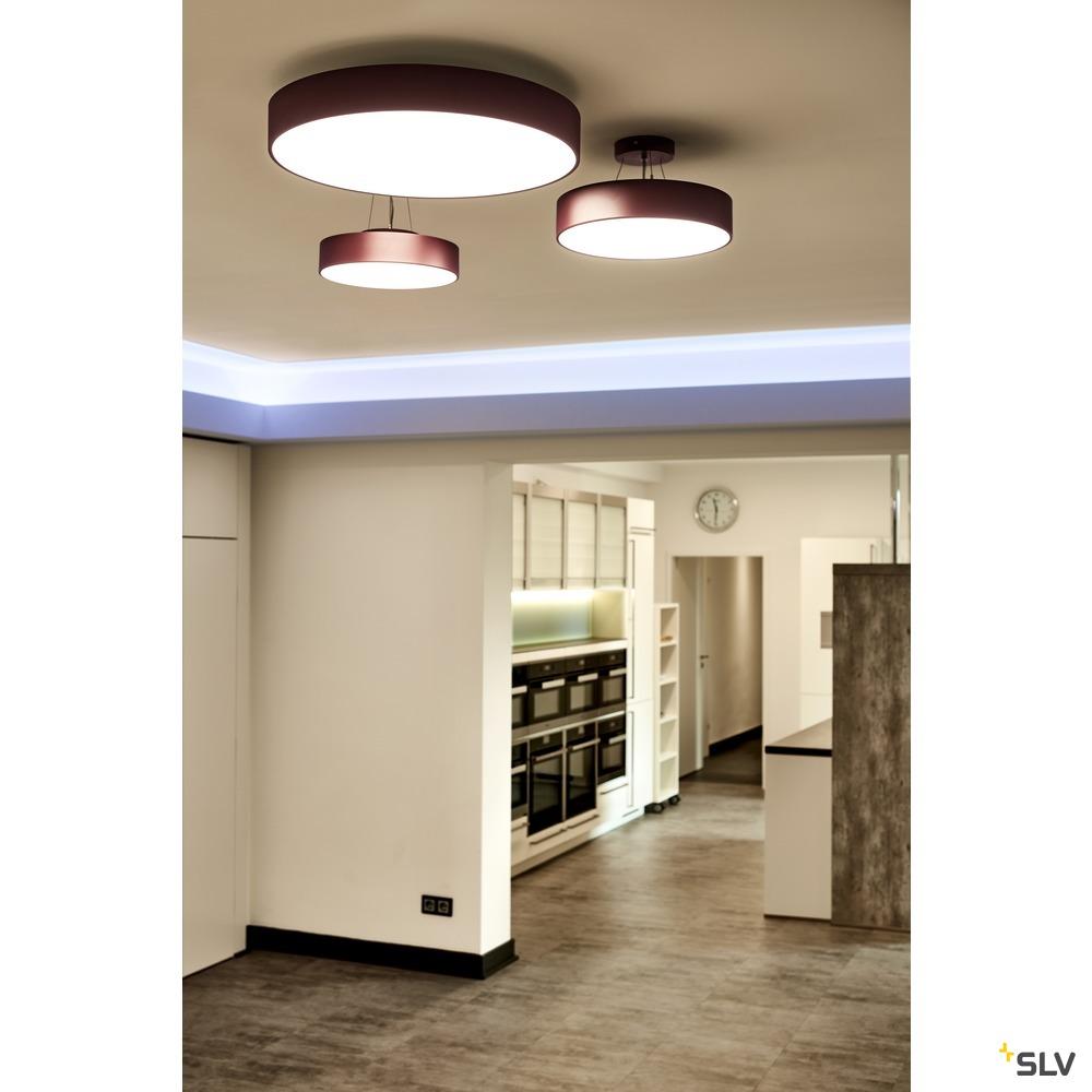 MEDO 60, Deckenleuchte, LED, 3000K, rund, weinrot, Ø 60 cm, zur Pendelleuchte umrüstbar, 40 W weiß