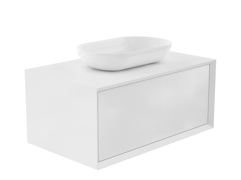 Treos Badmöbel mit Aufsatzwaschtisch, ohne Hahnloch, weiss-lack 902x547x508
