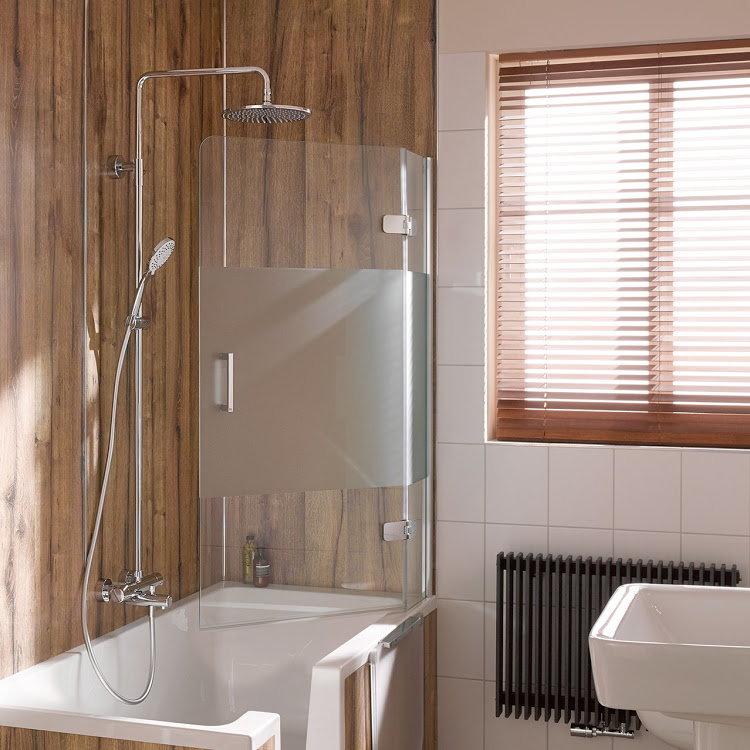 HSK Premium Softcube Badewannenaufsatz, pendelbar, 2-teilig - 1000 mm Rechts inkl. Aufmaßservice mit Beschichtung Chromoptik Linea.02 mit Stangengriff