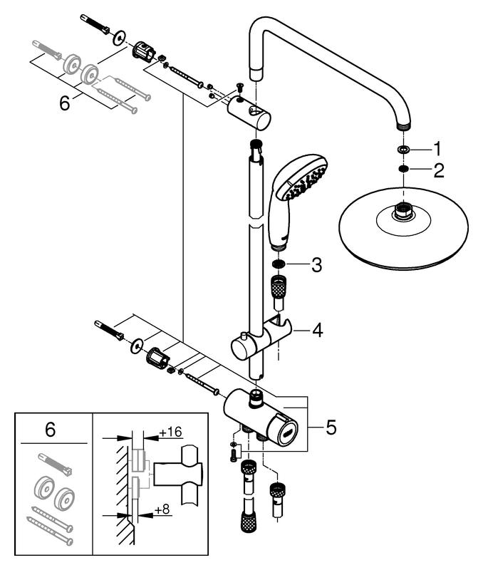 GROHE Duschsystem Tempesta 210 26381_1 390mm Duscharm Umstellung chrom