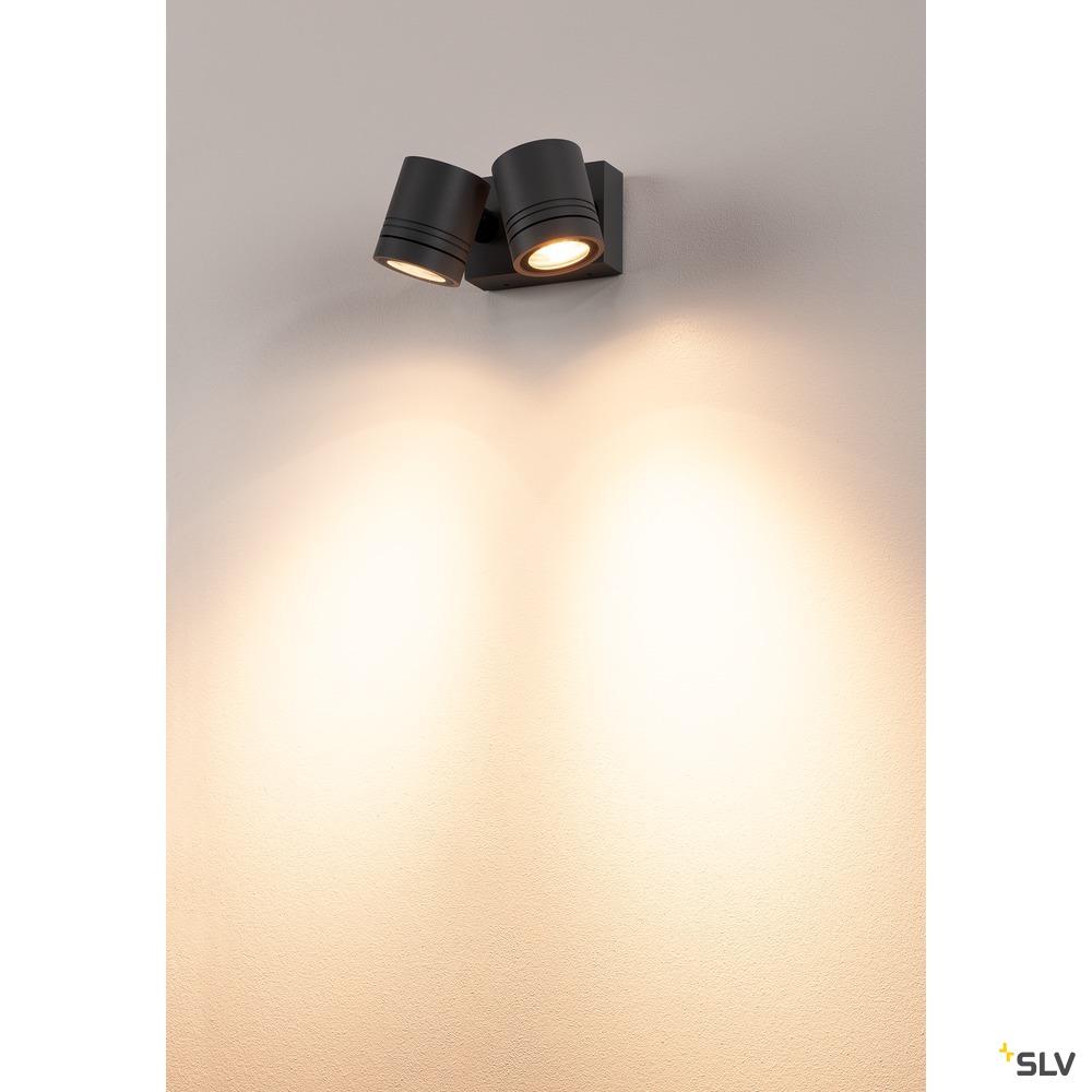 MYRA WALL, Outdoor Wand- und Deckenleuchte, zweiflammig, QPAR51, IP55, anthrazit, max.100W