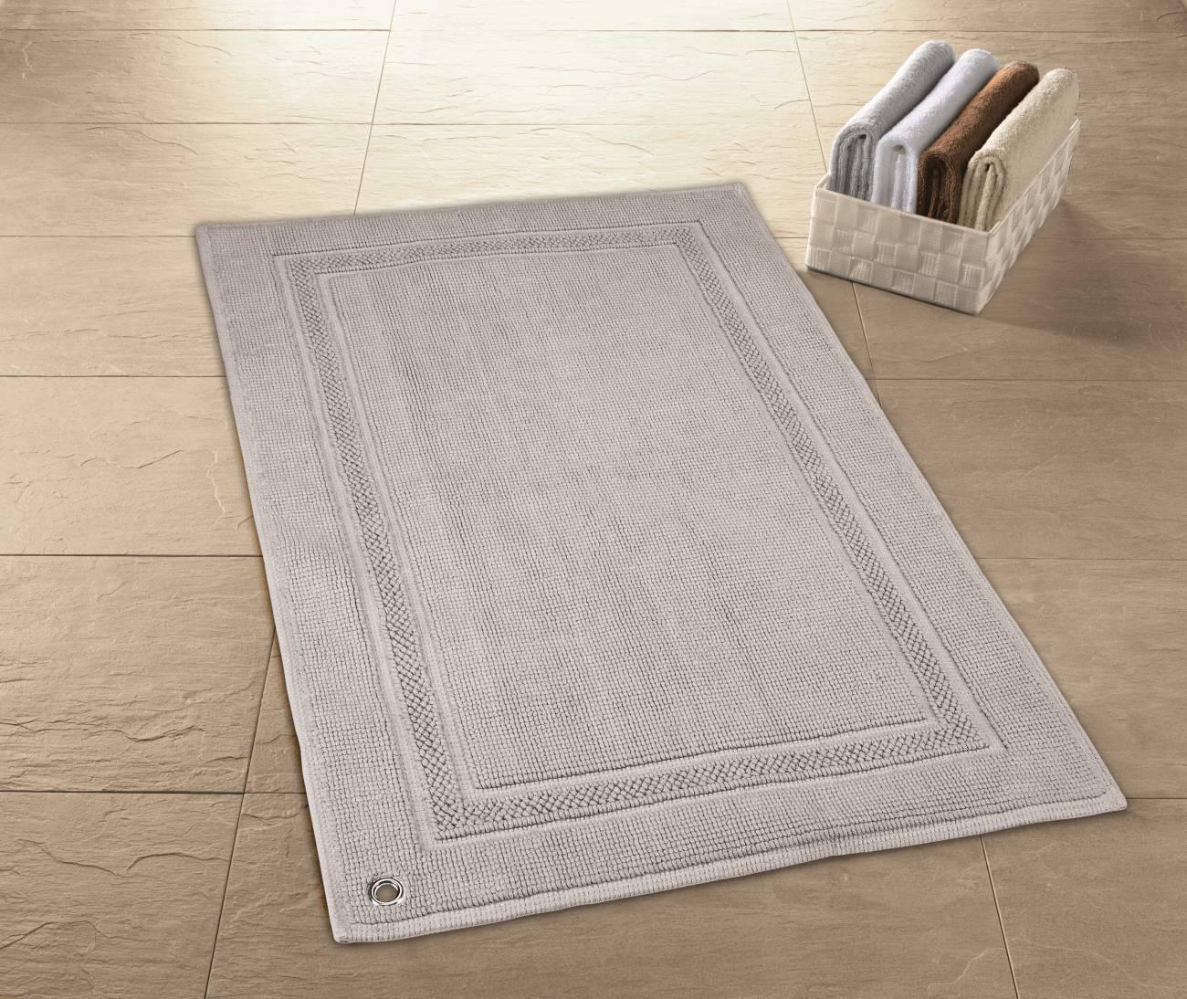 Badteppich Sara 100 % Baumwolle Silbergrau 50x 80 cm