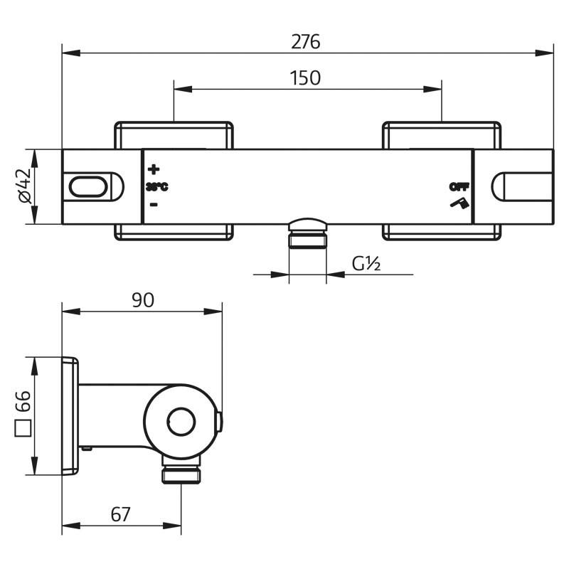 HSK Aufputz-Sicherheits-Duschthermostat Softcube 2.0