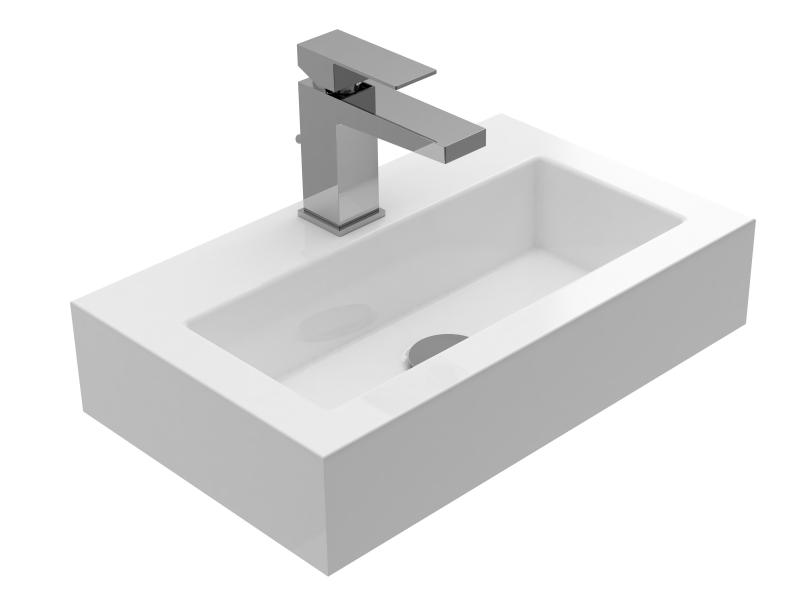 Treos Mineralguss Waschbecken mit Hahnloch 460x280x100 mm