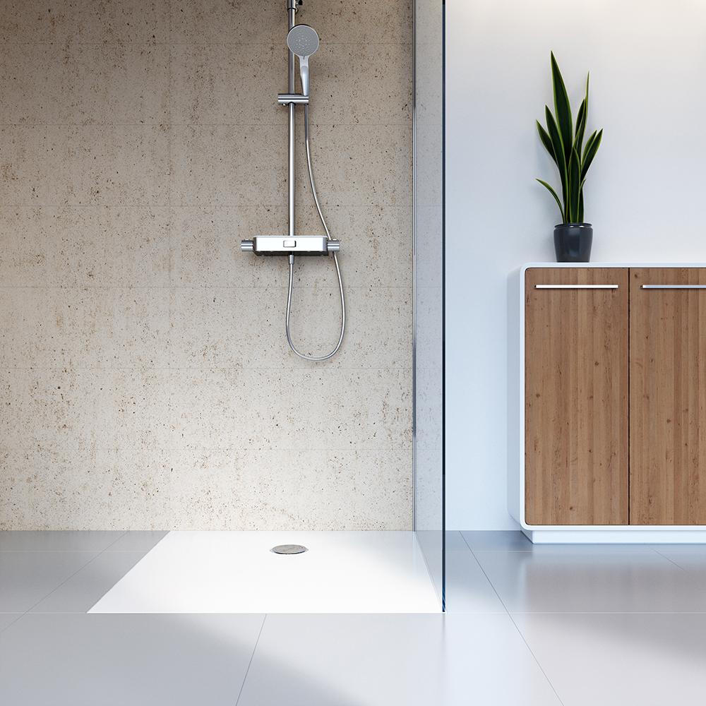 HSK Marmor-Polymer-Duschwannen, plan - Quadrat 100x100 mit AntiSlip-Beschichtigung