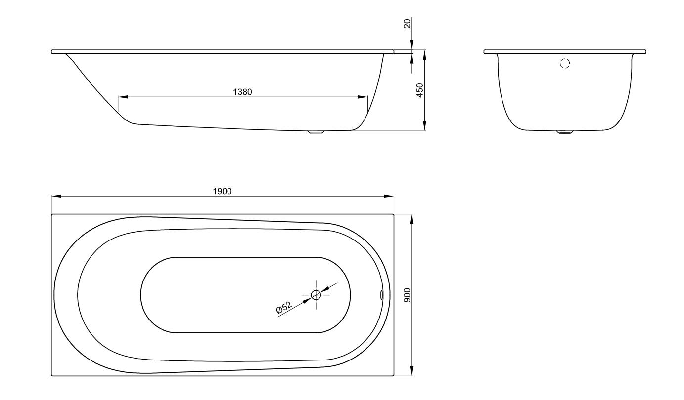 Bette Comodo - 1900×900 mm Weiß exkl. Antirutsch exkl. Wannenträger