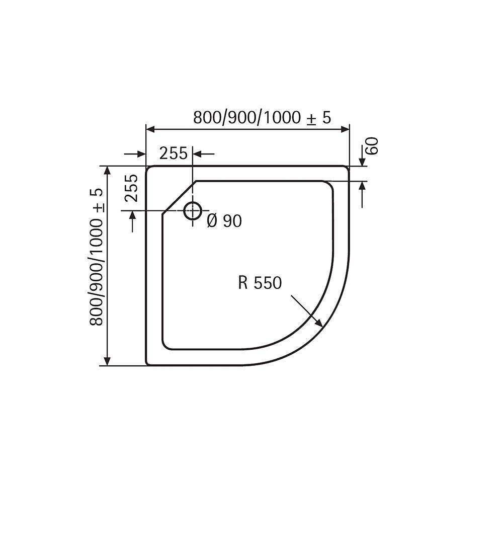 HSK Acryl-Duschwannen, superflach - Viertelkreis 90x90 Pergamon exkl. AntiSlip-Beschichtung