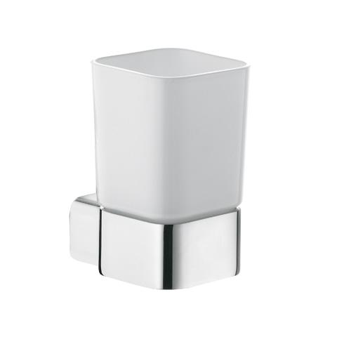 KLUDI E2 Glashalter mit Opalglas weiss chrom