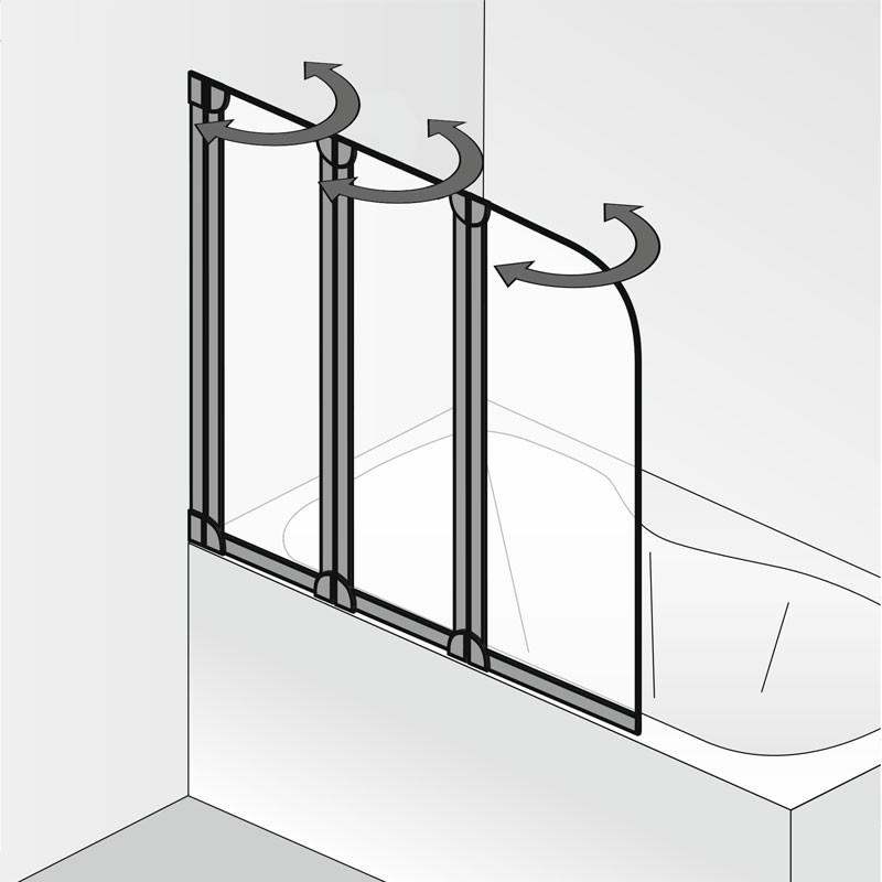 HSK Favorit Badewannenaufsatz, 3-teilig