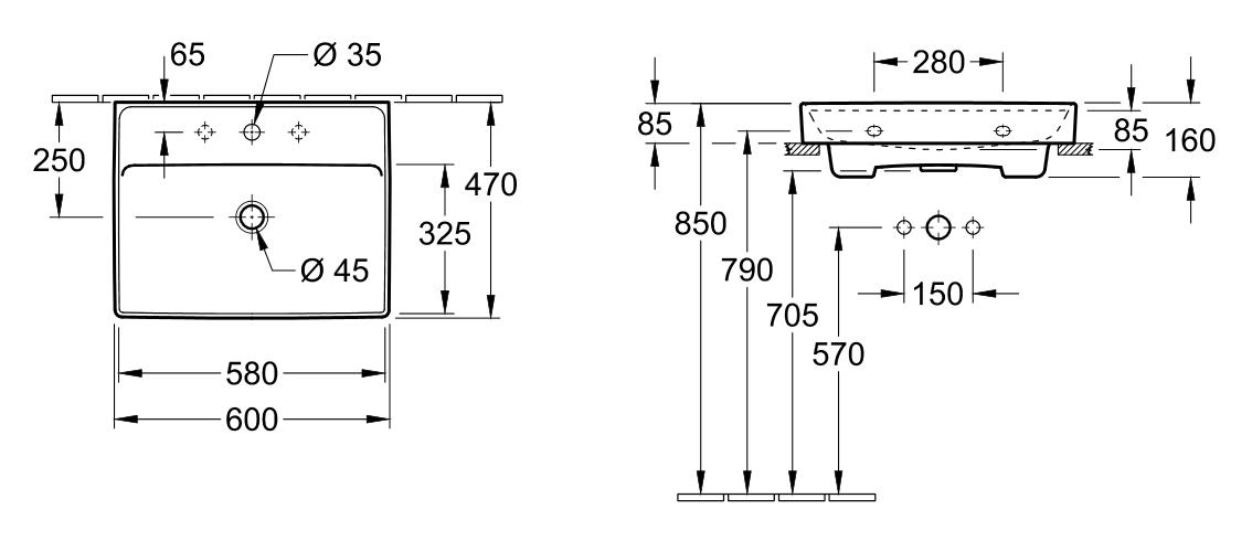 Villeroy & Boch COLLARO Waschtisch - 600x470 mm Stone White CeramicPlus (RW) exkl. Push-to-Open-Ventil