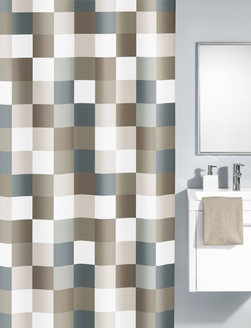 Duschvorhang Check 100 % Polyester Taupe 180x200 cm
