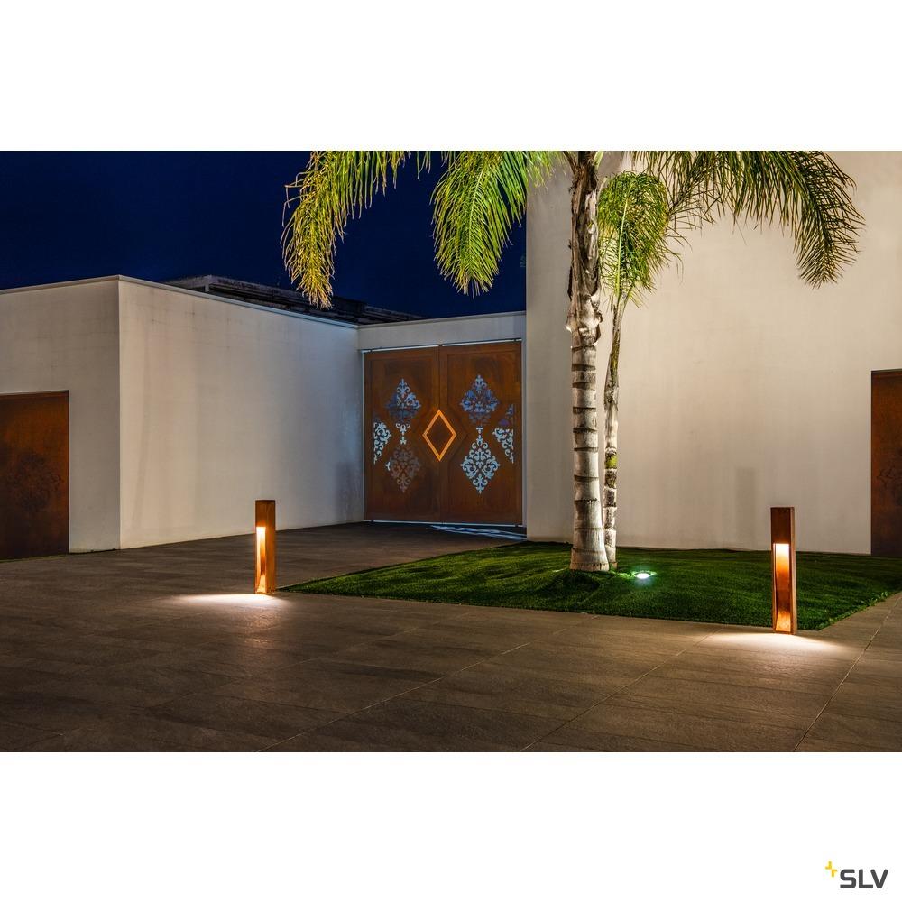RUSTY SLOT 80, Outdoor Standleuchte, LED, 3000K, stahl gerostet, L/B/H 12/12/80 cm