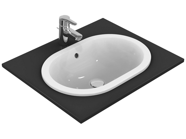 IS Einbauwaschtisch Connect oval o.Hl. m.Ül. 480x350x175mm Weiß