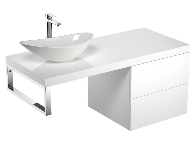 Treos Badmöbel Konsolenplatte Weiß inkl. Unterschrank & Aufsatzbecken