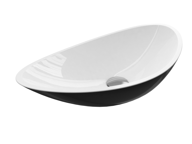 Treos Mineralguss Aufsatzwaschbecken ohne Hahnloch schwarz/weiß