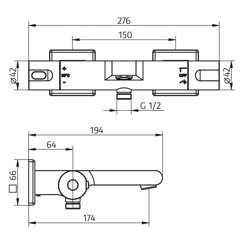 HSK Shower & Co! Aufputz-Wannen-Thermostat Softcube 2.0