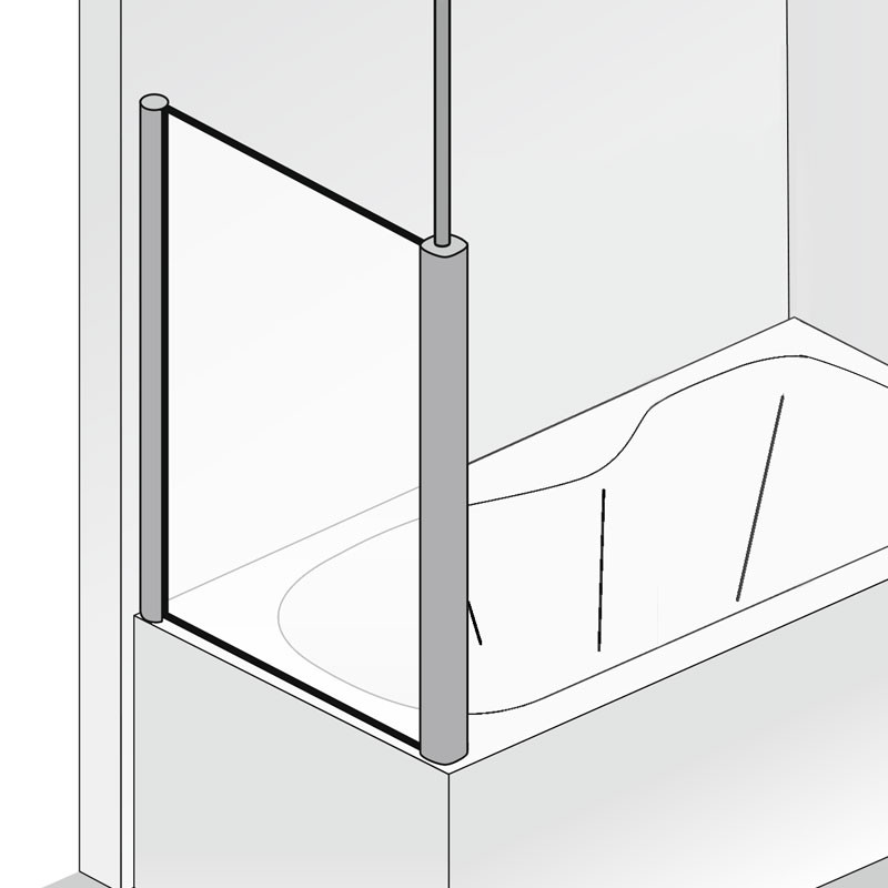 HSK Seitenwand zu Badewannenaufsatz Exklusiv - 750 mm Links inkl. Aufmaßservice ohne Beschichtung Alu Silber-Matt Klar Hell verspiegelt