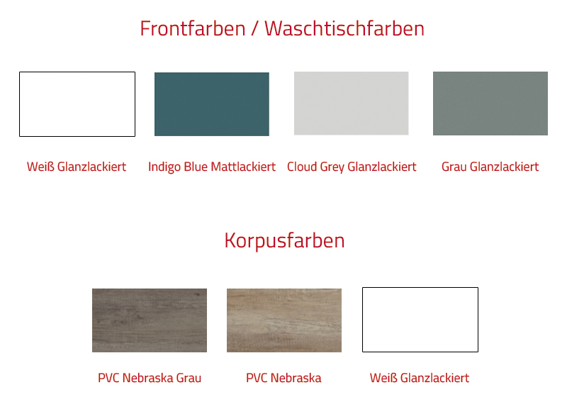 Thielsch Badmöbel Happy Set inkl. Waschtisch 100 cm Indigo Blue Mattlackiert PVC Nebraska Grau exkl. Wandschrank