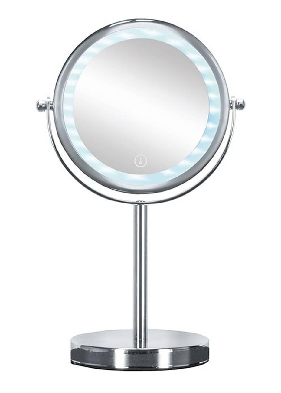 Kosmetikspiegel Bright Mirror Metall chromiert/Glas/LED Silber Spiegel