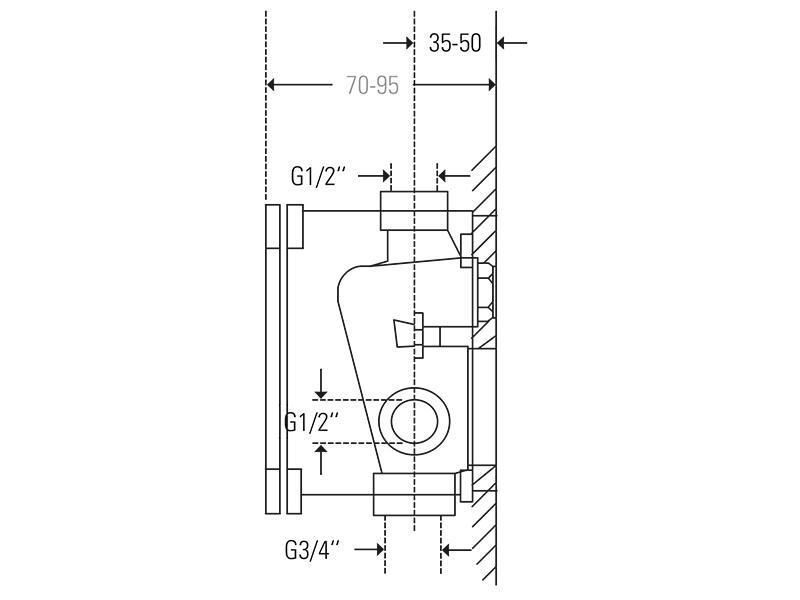 Treos Unterputz Einbaukörper f. Wannen/Brause Einhebelmischer