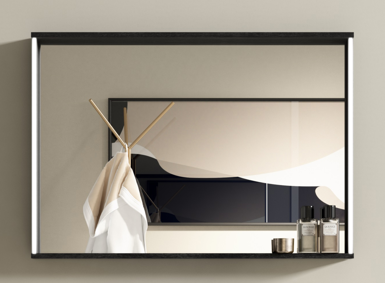 Thielsch Badmöbel Malaga Spiegel 123 x 73cm, Weiß Glanzlackiert