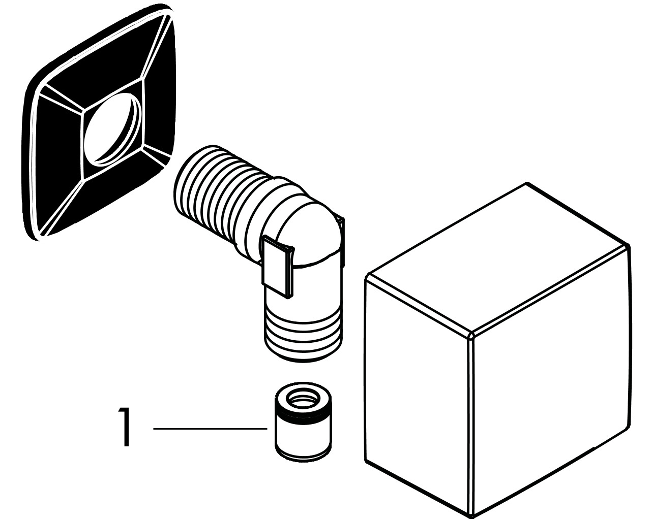 HG Schlauchanschluss DN15 Fixfit Square mit Rückflussverhinderer mattschwarz