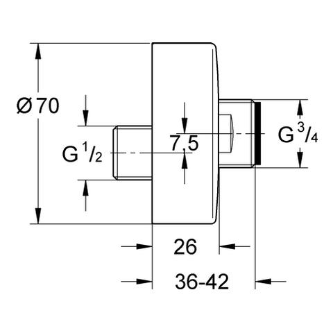 GROHE S-Anschluss 12662 nickel gebürstet