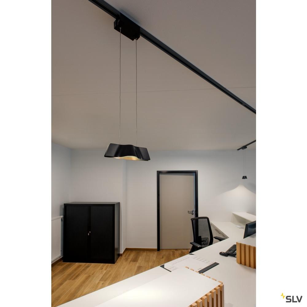 WAVE PENDANT, Pendelleuchte  für Hochvolt-Stromschiene 1Phasen, LED, 3000K, schwarz, 9W, inkl. 1Phasen-Adapter