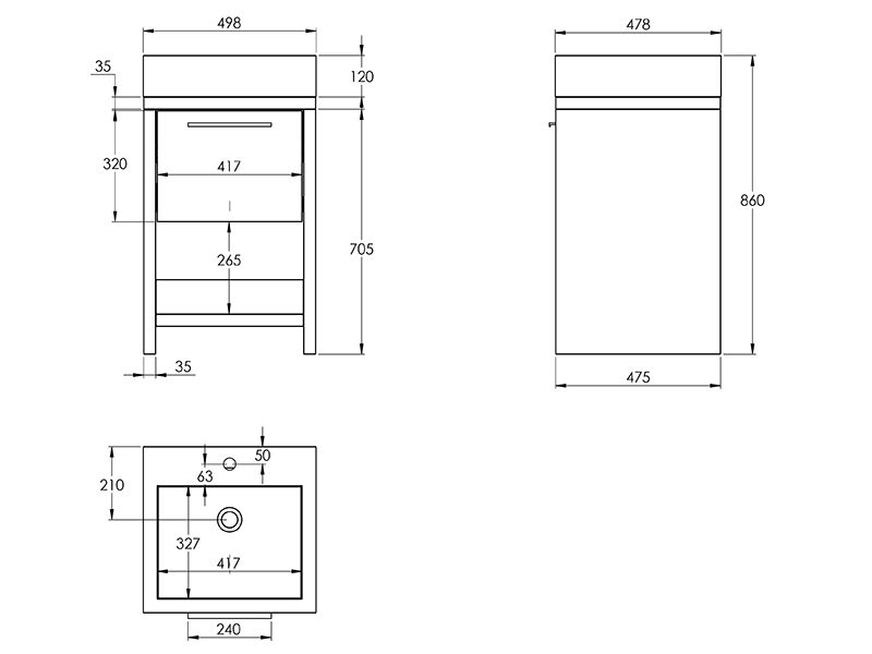 Treos Badmöbel ohne Hahnloch goak 500x480x850 mm
