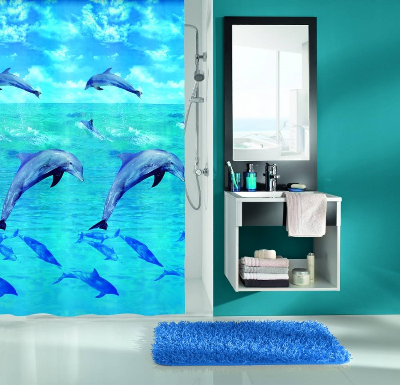 Duschvorhang Dolphin PEVA Multicolor 180x200 cm