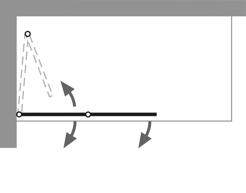 HSK Exklusiv Badewannenaufsatz, 2-teilig Rechts Chromoptik Klar Hell verspiegelt ohne Beschichtung exkl. Aufmaßservice