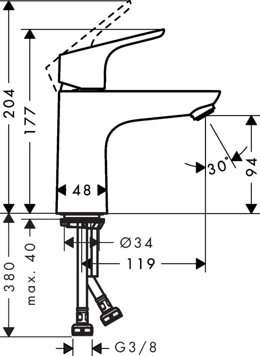HG Waschtischmischer 100 Focus CoolStart ohne Ablaufgarnitur chrom