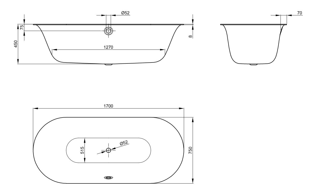 Bette Lux Oval - 1700×750 mm Weiß exkl. Antirutsch exkl. Wannenträger