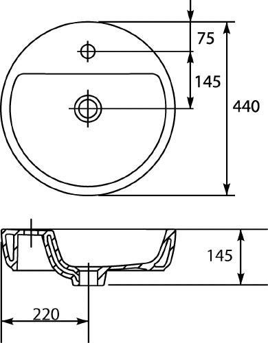 Thielsch Badkeramik Aufsatzwaschtisch rund