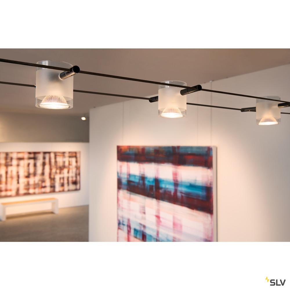 COMET, Seilleuchte  für TENSEO Niedervolt-Seilsystem, QR-C51, chrom, teilsatiniertes Glas