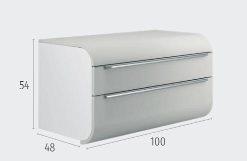Thielsch Badmöbel Happy 100 Cloud Grey Glanzlackiert, PVC Nebraska