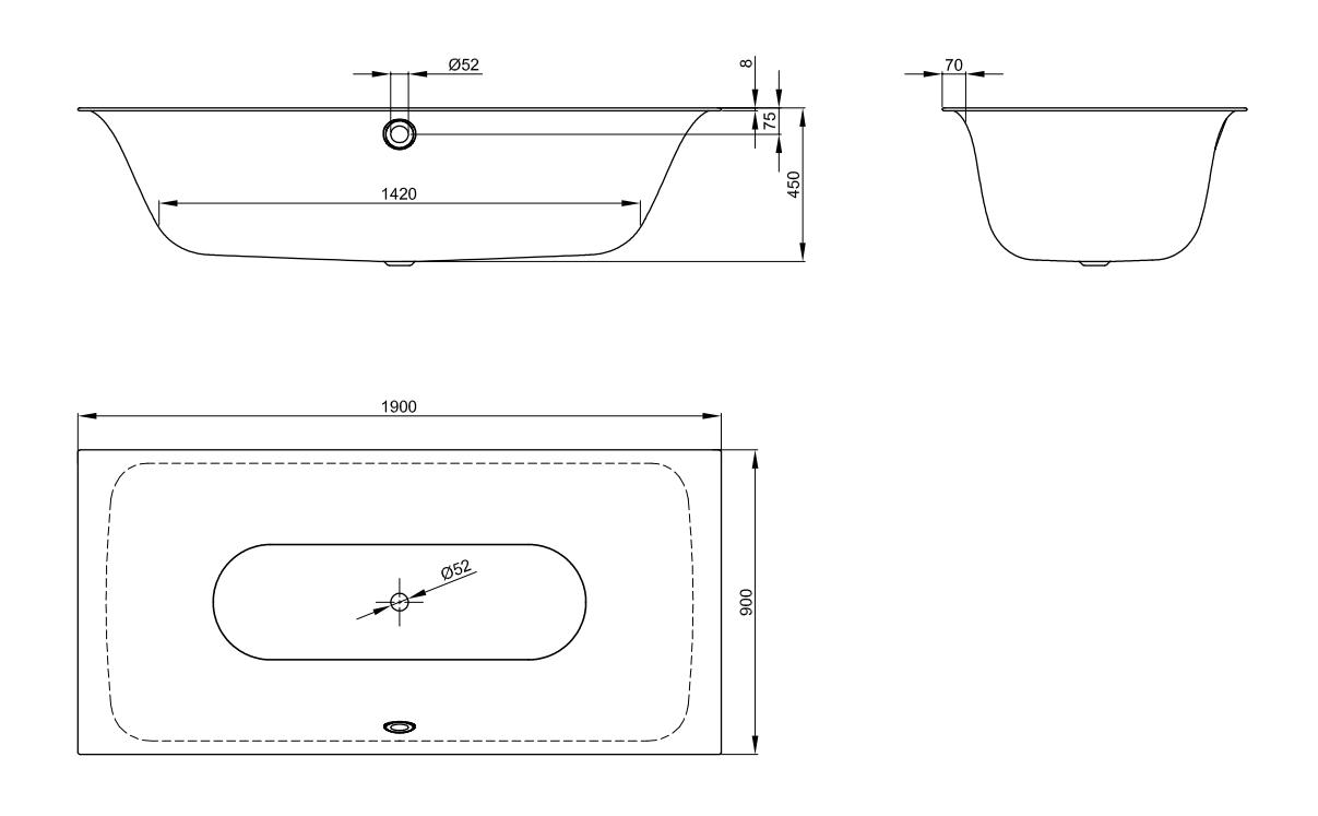 Bette Lux Badewanne - 1900×900 mm Weiß exkl. Antirutsch inkl. Wannenträger
