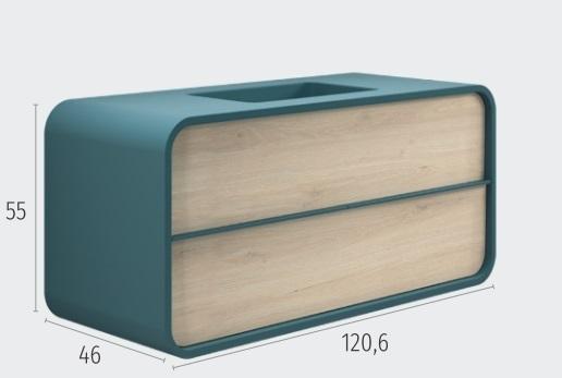 Thielsch Badmöbel Ovalo 120 Indigo Blue Mattlackiert, Eiche Pegasus