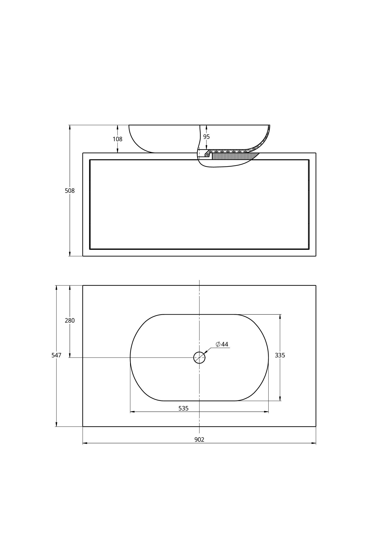 Treos Badmöbel mit Aufsatzwaschtisch, ohne Hahnloch, weiss, Front foak 902x547x508