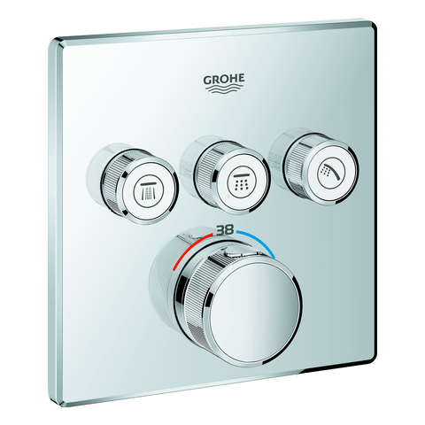 GROHE Thermostat Grohtherm SmartControl 29126 eckig FMS 3 Absperrventile chrom