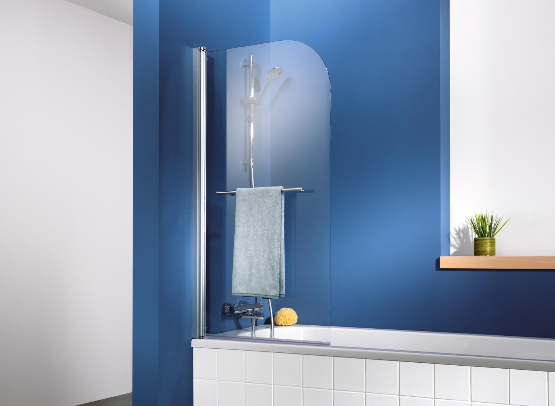 HSK Exklusiv Badewannenaufsatz, 1-teilig inkl. Handtuchhalter (Chrom)