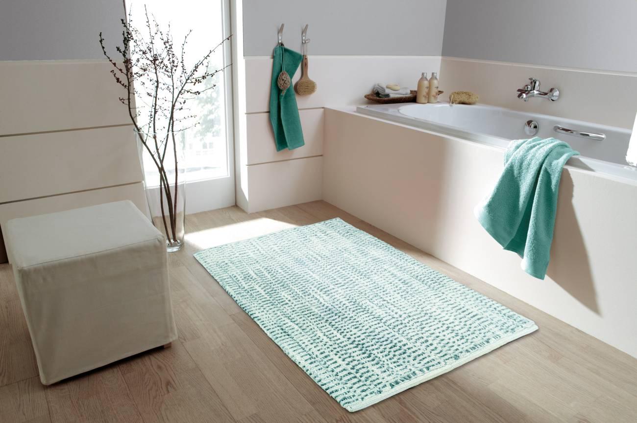 Badteppich Sway 100 % Baumwolle Blau 70x120 cm