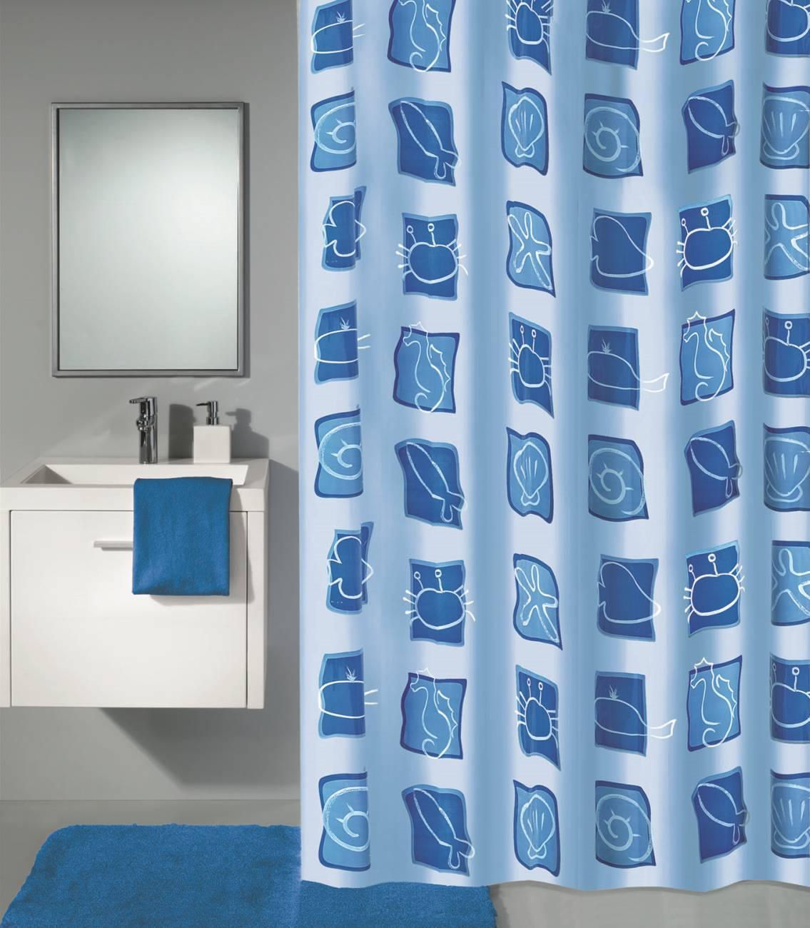 Duschvorhang Sealife PEVA Blau 180x200 cm