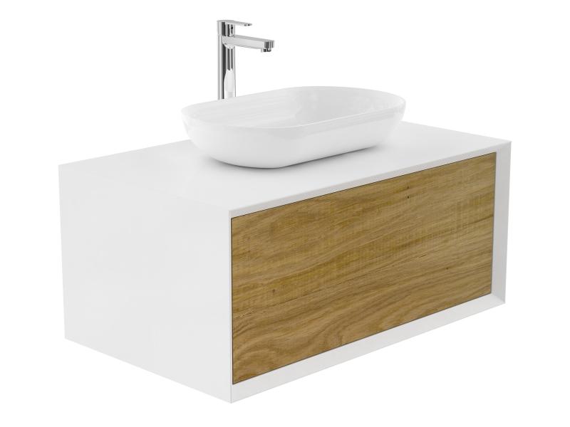 Treos Badmöbel mit Aufsatzwaschtisch, mit Hahnloch, weiss, Front foak 902x547x508