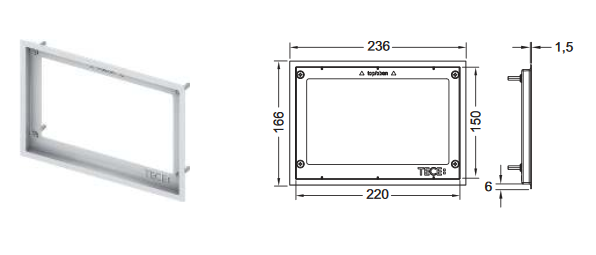 TECE WC-Abdeckrahmen für WC-Einbaurahmen Glänzend