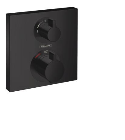 HG Thermostat Unterputz Ecostat Square Fertigset 2 Verbraucher mattschwarz