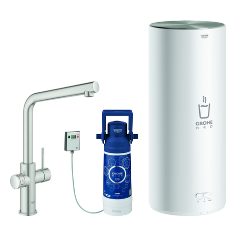 GROHE Armatur und Boiler GROHE Red Duo 30325_1 L-Size L-Auslauf supersteel